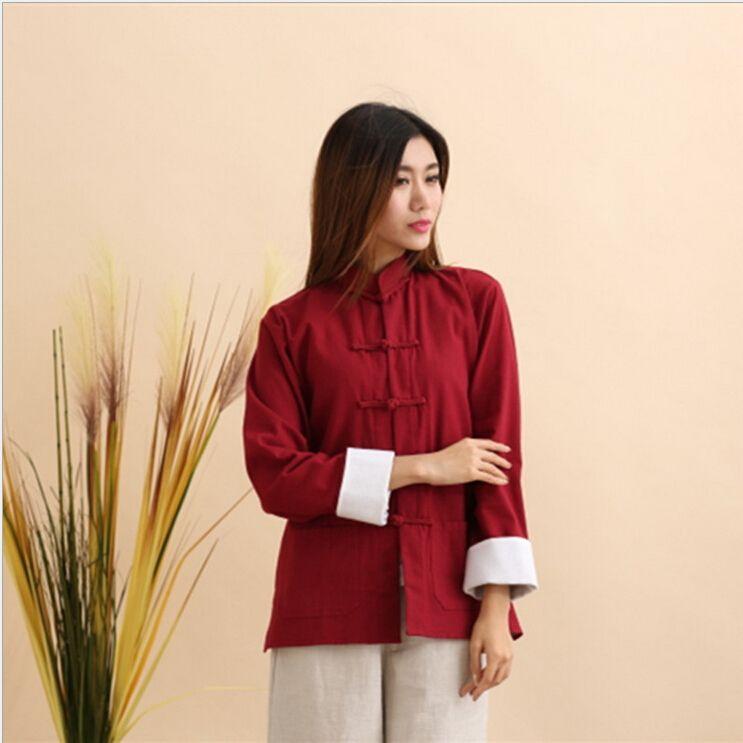Vintage Traditionellen Chinesischen Stil Frauen jacke mantel baumwolle leinen Kung Fu Mantel Oberbekleidung mantel shell oberkleid
