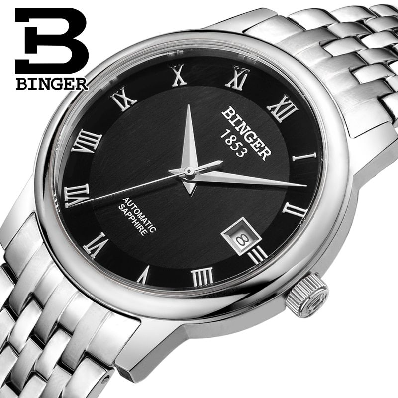 Switzerland BINGER watches men luxury brand Mechanical Wristwatches sapphire full stainless steel 1 year Guarantee B653-3