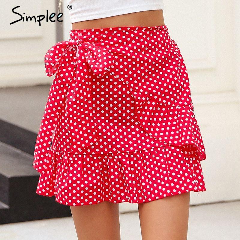 Simplee Polka dot wrap skirts womens Floral print summer <font><b>style</b></font> mini skirt Streetwear ruffle high waist short skirt female 2018