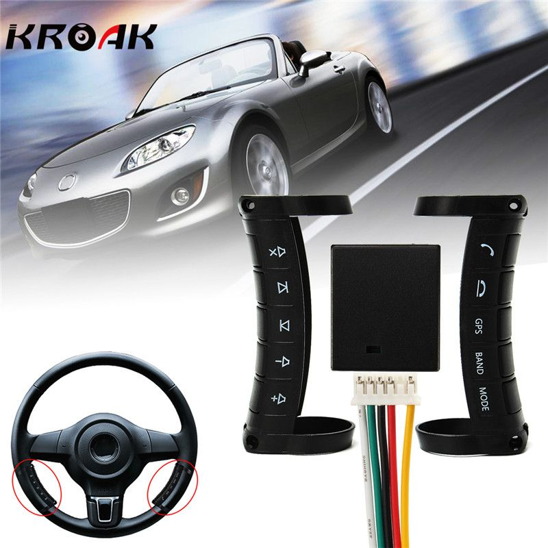 Kroak Universal Wireless Car Steering Wheel Button DVD GPS Remote Control For Stereo DVD Navigation Controller Multi-function