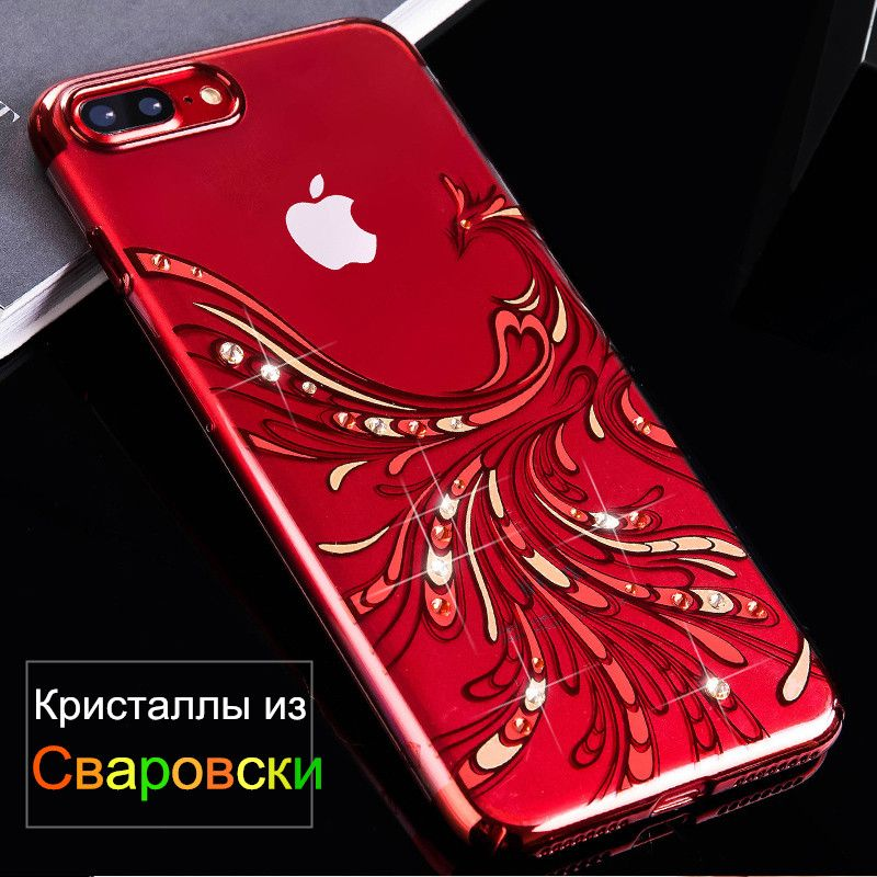 KAVARO Capa for iPhone 7 8 Plus Case SWAROVSKI Element Crystals Diamond Plated Phoenix Phone Case for iPhone 8 Plus Cover Coque