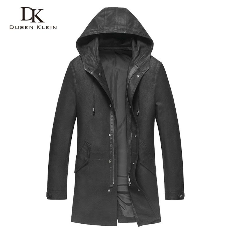 Designer trench coat men long hooded trench Jackets Dusen Klein Genuine leather sheeepskin male leather clothing Black 71S9003