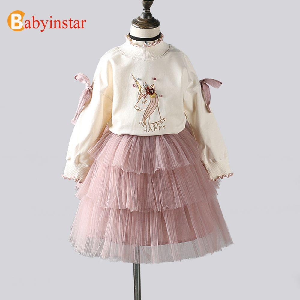 Babyinstar Baby Girls Princess Set 2018 New Arrival Long Sleeve Tops + TUTU Skirts 2Pcs Girls Clothes Toddler Children's Suit