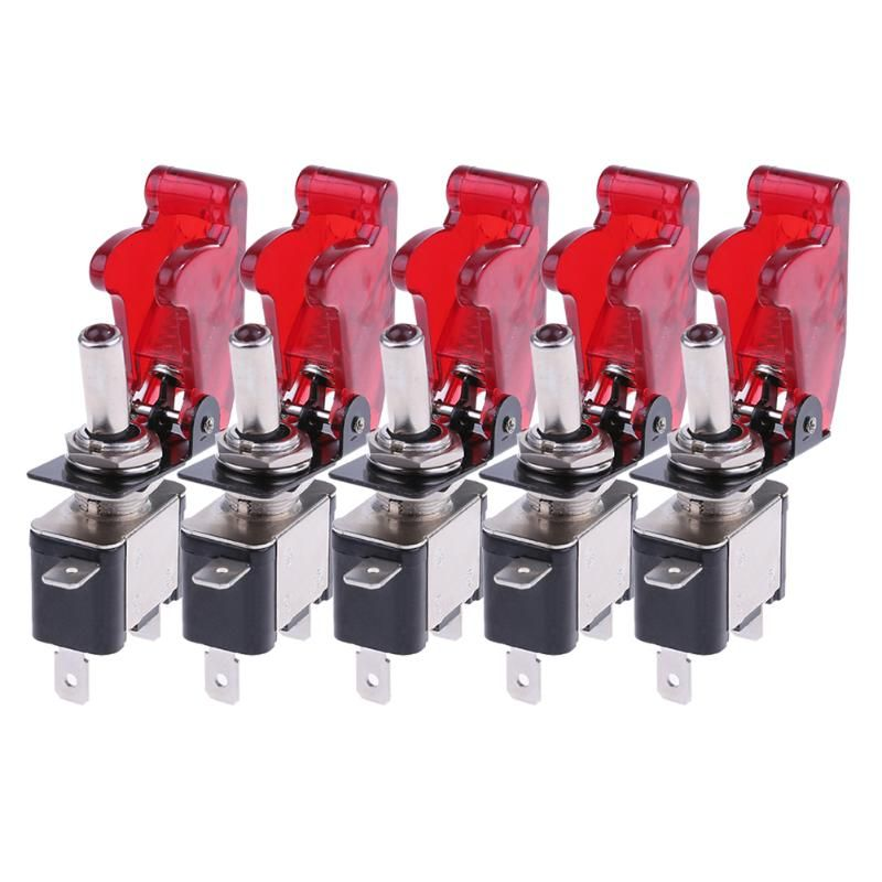 5pcs 12V 20A LED Light Red Cover Racing Car SPST Rocker Toggle Switches Light Control ON/OFF For Auto Offroad Racing Car Styling