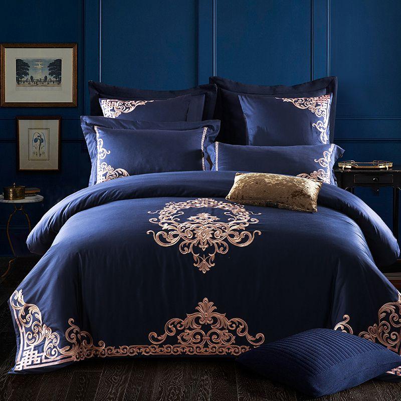 Svetanya Embroidered Egyptian Cotton Bedding Sets Queen King Size flat Bedsheet Pillowcases Duvet Cover Set Blue