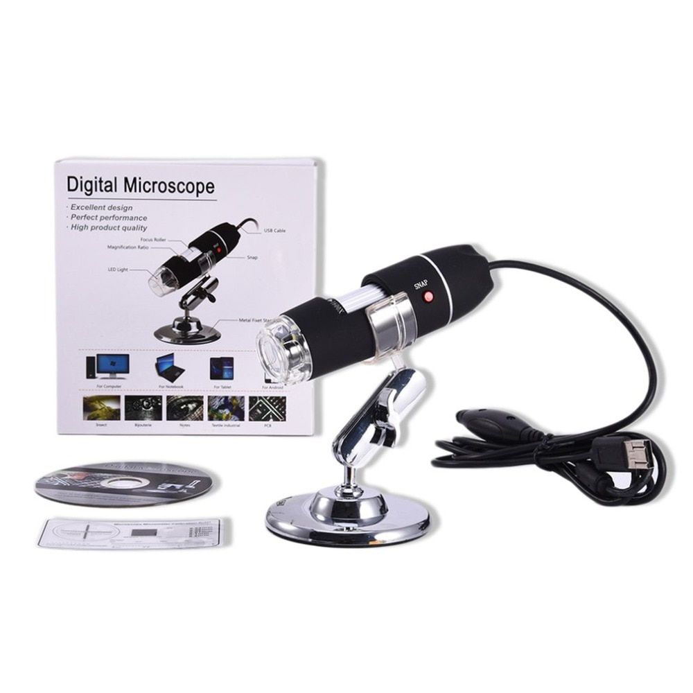 8 LED USB Digital Microscope 500X 1000X 1600X Endoscope Camera Microscopio Magnifier Electronic Monocular Microscope With Stand
