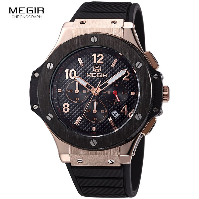 MEGIR hot casual quartz watches men fashion waterproof sport running watch for man chronograph cycling wristwatch for male 3002G