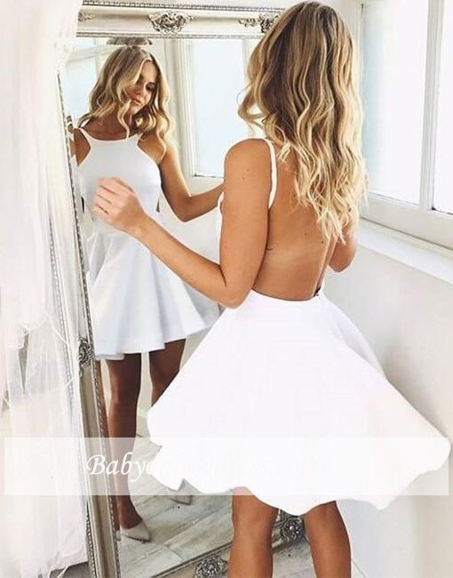 White 2018 Elegant Cocktail Dresses A-line Halter Short Mini See Through Sexy Party Plus Size Homecoming Dresses