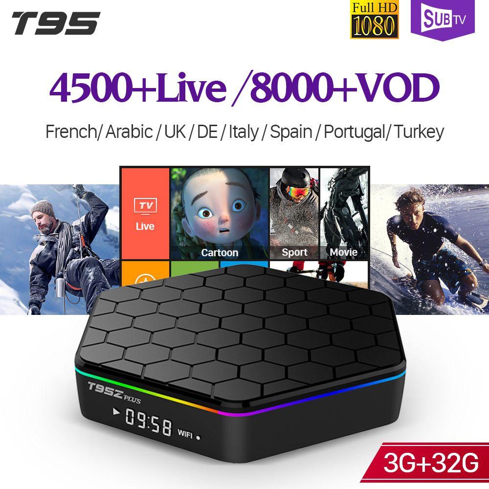 IPTV French T95Z plus S912 3GB 32GB Android 7.1 Smart TV Box 1 Year SUBTV IPTV Turkish Germany Albania Arabic France IPTV Box