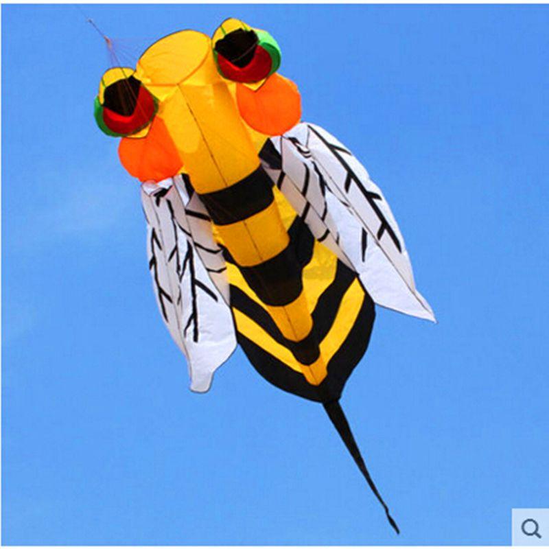 free shipping soft bee kite nylon ripstop outdoor toys flying kite tails beach fun kite line parachute kites for adults octopus