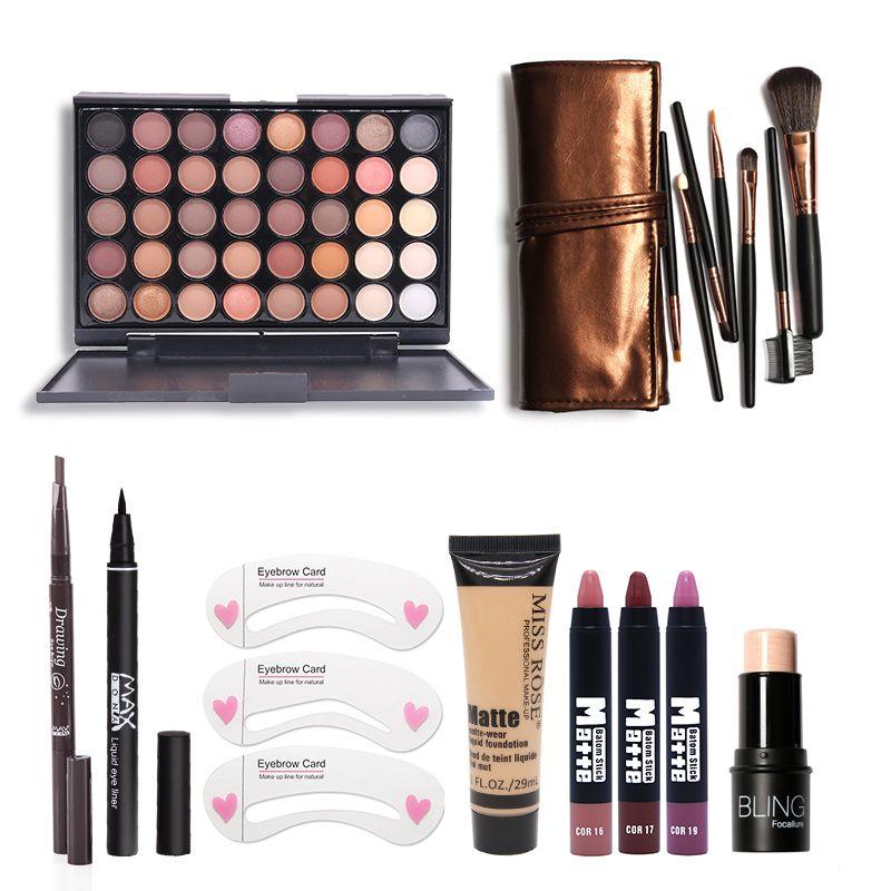 Makup Tool Kit 8 PCS Must Have Cosmetics Including Eyeshadow Matte Lipstick With Foundation Eyeliner Makeup Brush Set