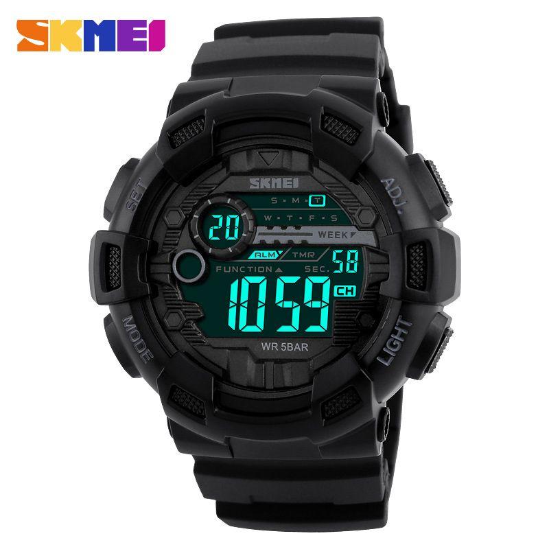 SKMEI Men <font><b>Sports</b></font> Digital Watch 50M Waterproof Back Light LED Digital Watches Chronograph Shock Double Time Wristwatches 1243