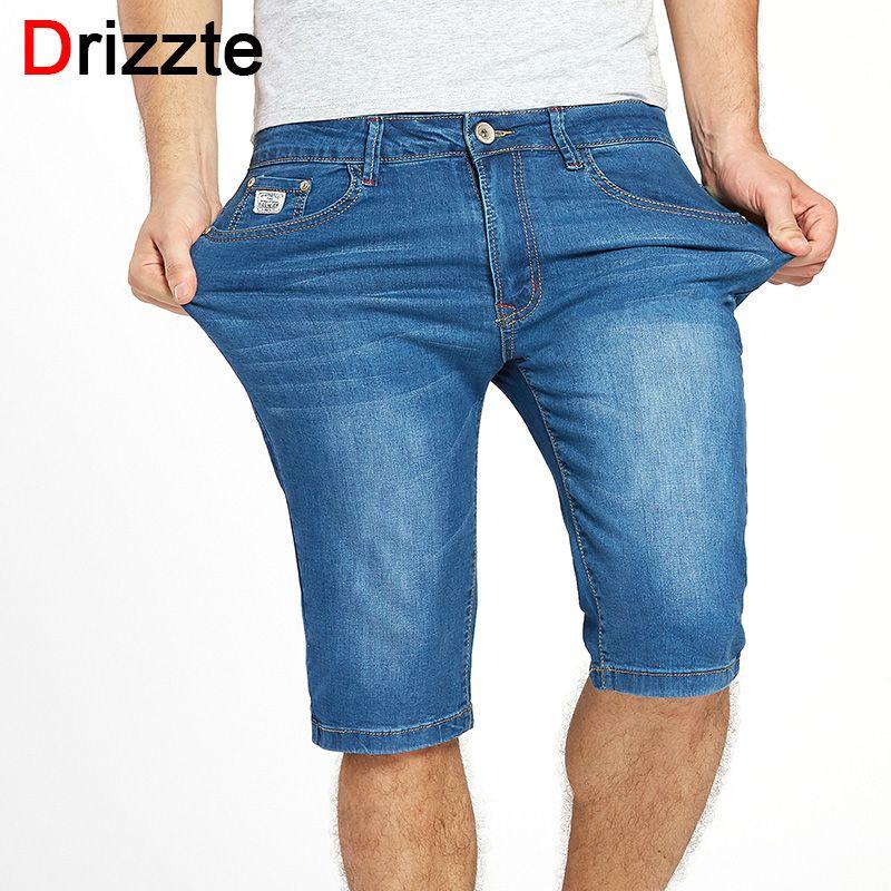 Drizzte Для мужчин S летние стрейч легкий синие джинсы Джинсы для женщин короткие для Для мужчин джинсовые шорты Брюки для девочек плюс Размеры ...