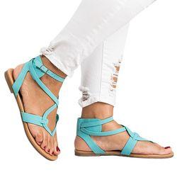 Nouveau Arrivent Femmes Sandales Gladiateur D'été Femmes Chaussures Plus La Taille 35-43 Appartements Sandales Chaussures Pour Femmes Casual Rome Style Sandalias