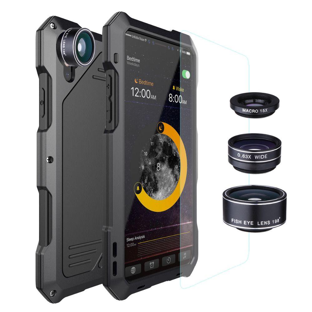 4 en 1 caméra Lentes Kit 198 Lentilles Fisheye 0.63X Grand Angle 15X Macro Lentille Pour iPhone X XS 6 6s 7 8 Plus Étuis En Métal