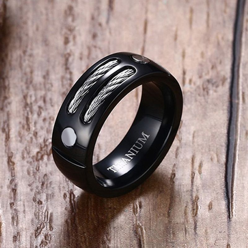 Men's Black Titanium Double Cable Ring with Screw Accent Male Wedding Band Jewelry Anel Aneis Masculinos Anillos