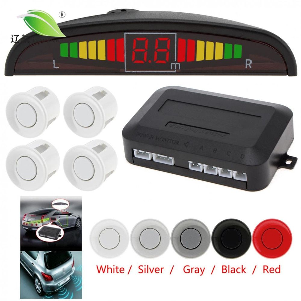 Light <font><b>Heart</b></font> Car Auto Led Parking Sensor Parktronic Display 4 Sensors Reverse Backup Assistance Radar Detector Monitor System