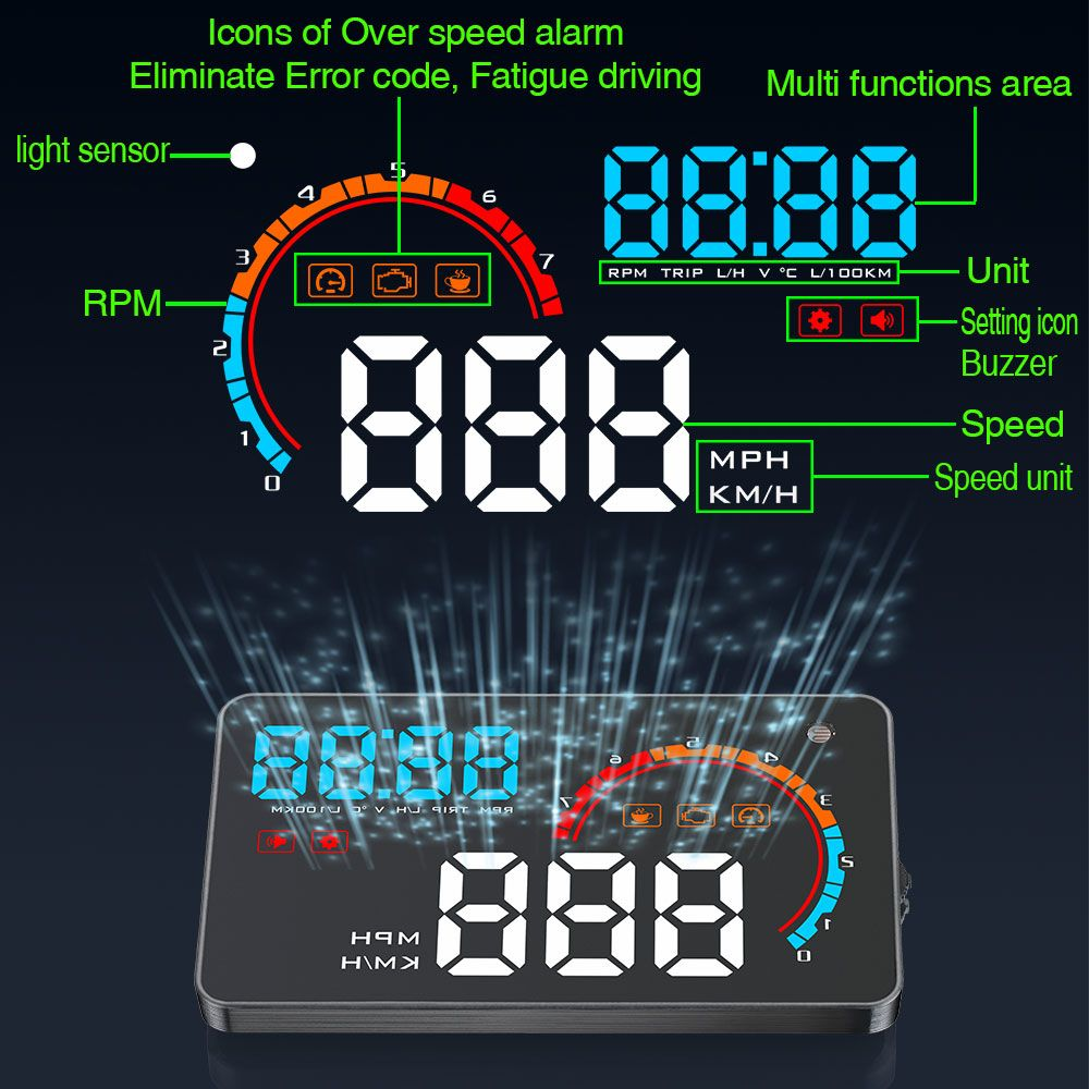 Newest D2000 Car HUD OBD2 Windshield Projector LED Head up display 4.0 inch Fatigue Driving Alarm Consumption Data Diagnostic