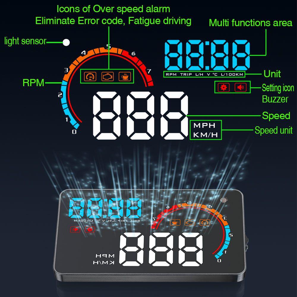 Newest D2000 Car HUD OBD2 Windshield Projector LED Head up display 4.0 inch Fatigue Driving Alarm Consumption Data Diagnostic