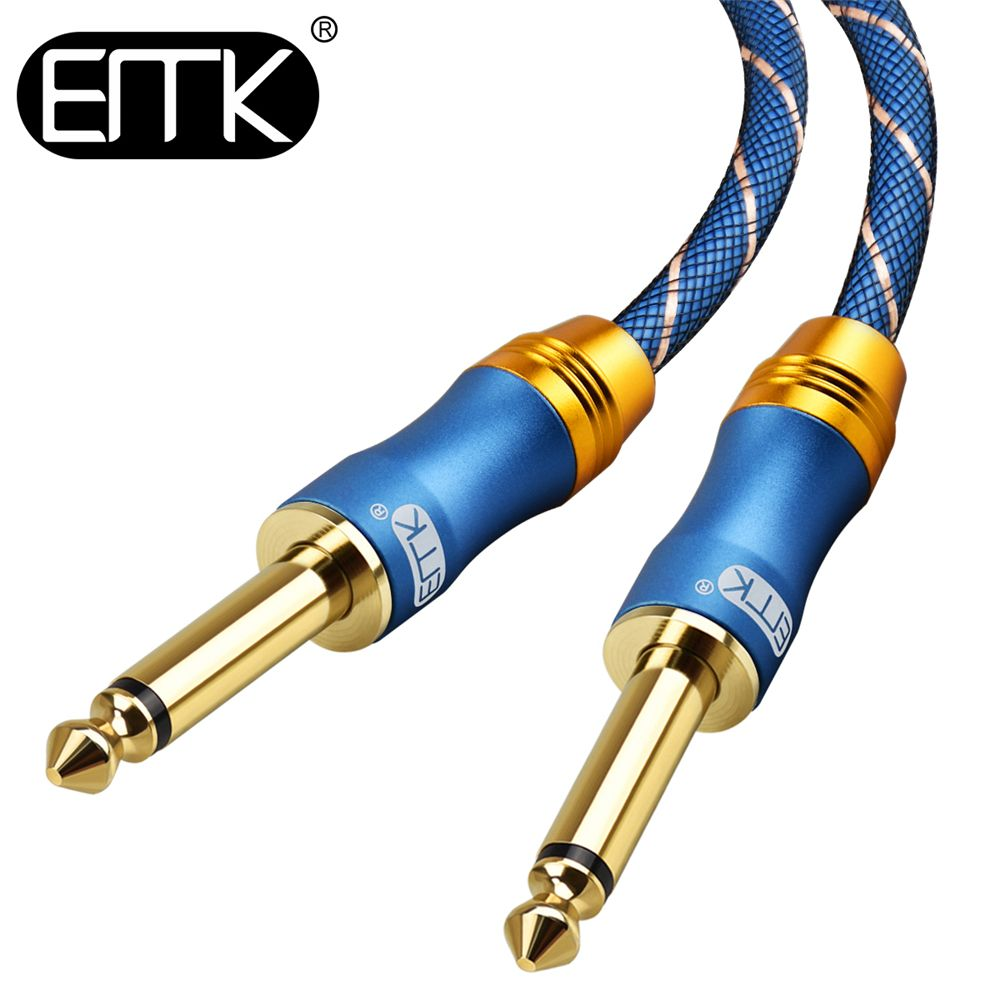 EMK 6.5 Jack Audio Cable 6.3 Aux Cable Nylon Braided 6.35 Jack Male to Male mono guitar Cable 1m 3m 5m 10m for Mixer Amplifier