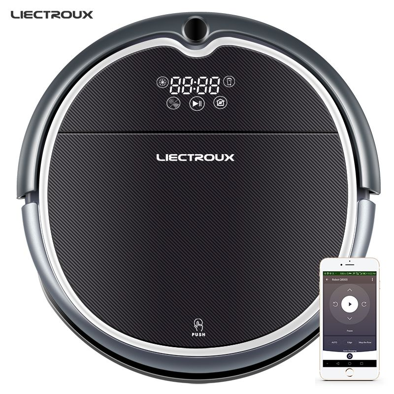 LIECTROUX Robot Vacuum Cleaner Q8000, WiFi App,Map Navigation,Smart Memory,UV Sterilize,Wet Dry Mop,Suction 3KPa,Brushless Motor