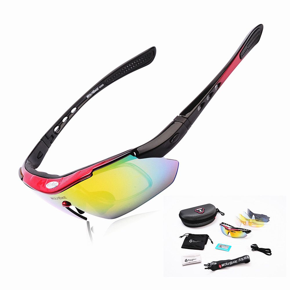 WOLFBIKE Polarized 5 Lens Cycling Eyewear Sun Glasses Mens Sports Bicycle Glasses Bike Sunglasses <font><b>Driving</b></font> Skiing Goggles Red