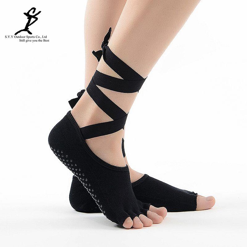 Для женщин связали Пилатес Йога носком Носки для девочек профессиональное спортивные и танцевальные Носки для девочек Шлёпанцы для женщин ...