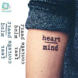 Rocooart HC1113 водонепроницаемые временные тату наклейки смело бояться сердце ум буквы дизайн Вода Передача Harajuku, временная татуировка