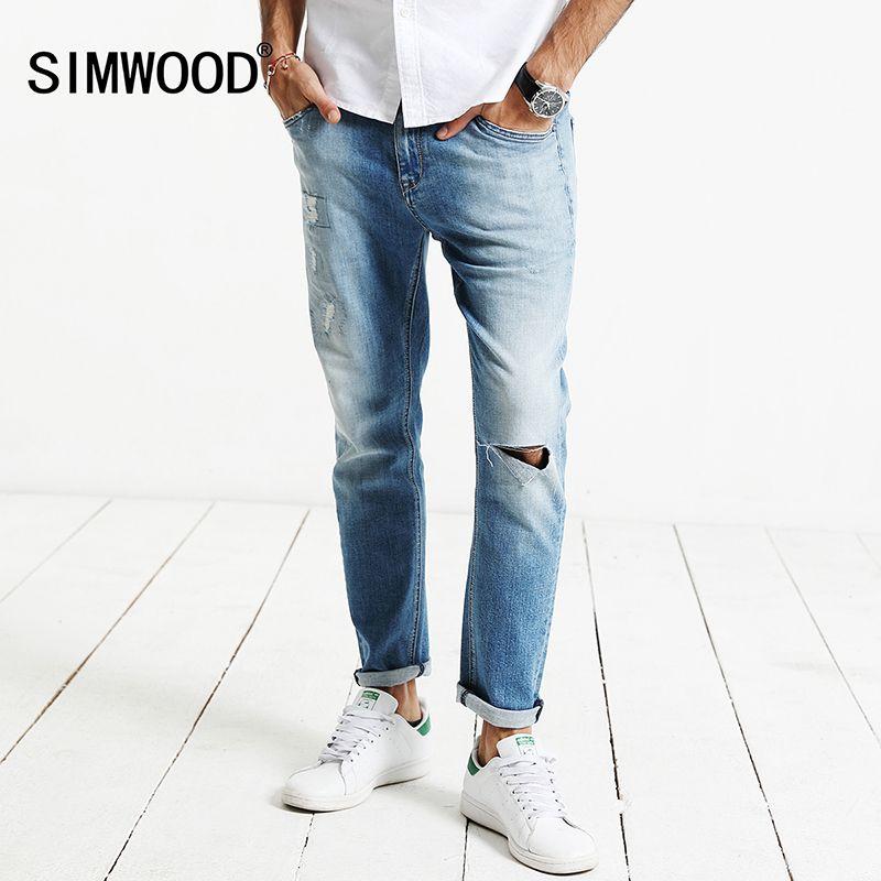 Simwood 2018 новая весна Джинсы для женщин Для мужчин отверстие модные джинсовые штаны мужской Slim Fit плюс Размеры высокое качество брендовая одеж...