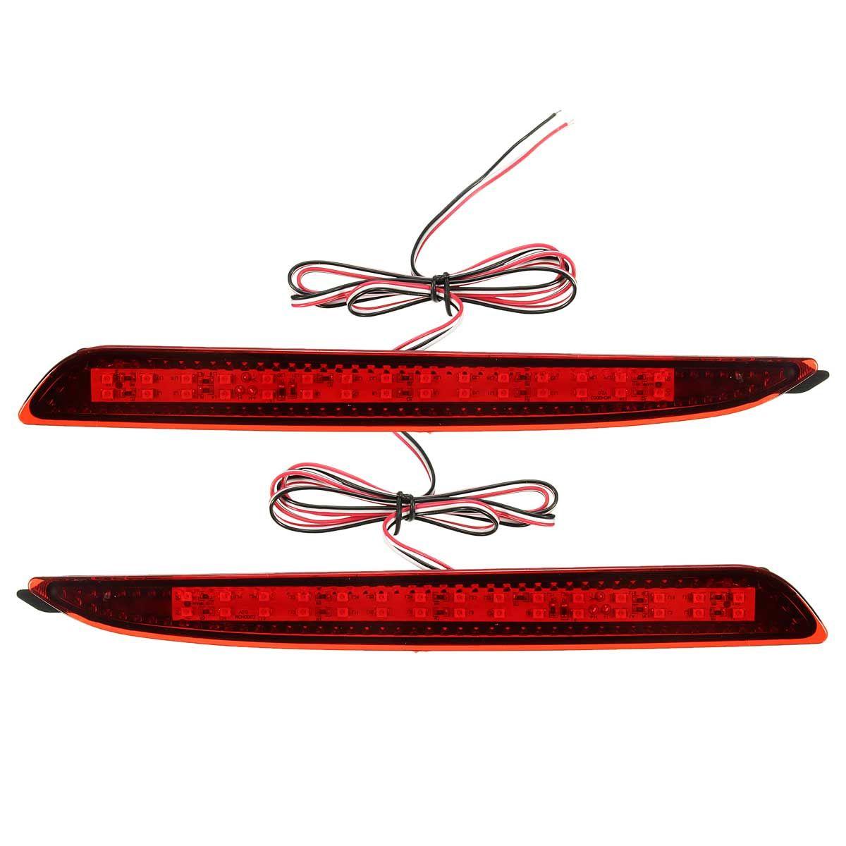 2 Pcs Red LED Rear Bumper Reflector Brake Lights Parking Warning For Mazda 3 2010 2011 2012 2013 2014 2015