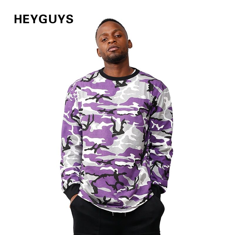 HEYGUYS fashion camouflage street wear sweatshirts men brand clothing France US men hip hop tracksuit ture to size