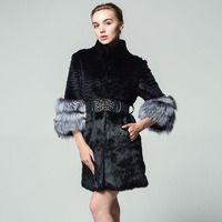 El verdadero abrigo de piel de conejo rayas moda fox cuff con cinturón bolsillo piel ropa de invierno mujer rusa 5XL abrigo de manga de siete puntos