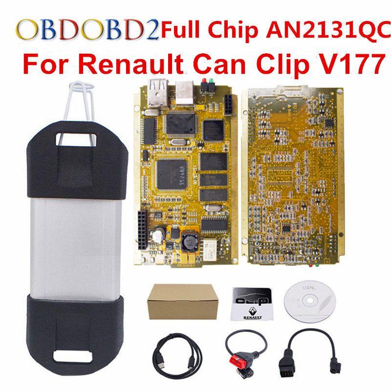 For Renault Can Clip V177 Full Chip CYPRESS AN2131QC+Reprog V151 OBDII Diagnostic Interface CAN Clip For Renault Code Scanner