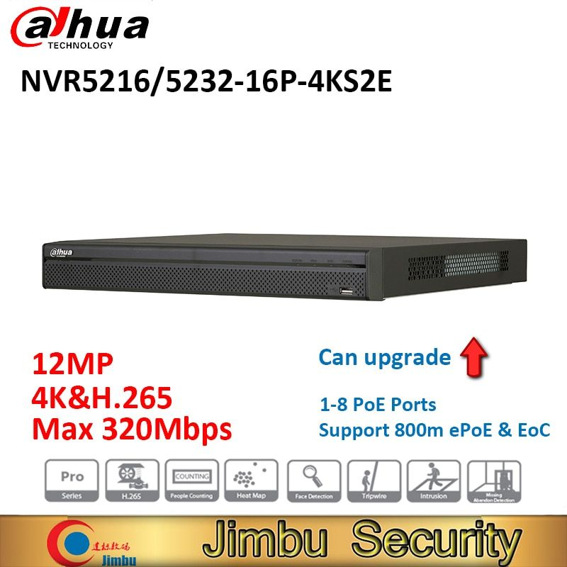 Dahua NVR NVR5216-16P-4KS2E NVR5232-16P-4KS2E heat map 16poe port 1-8 PoE Support 800m ePoE & EoC Up to 12MP people counting