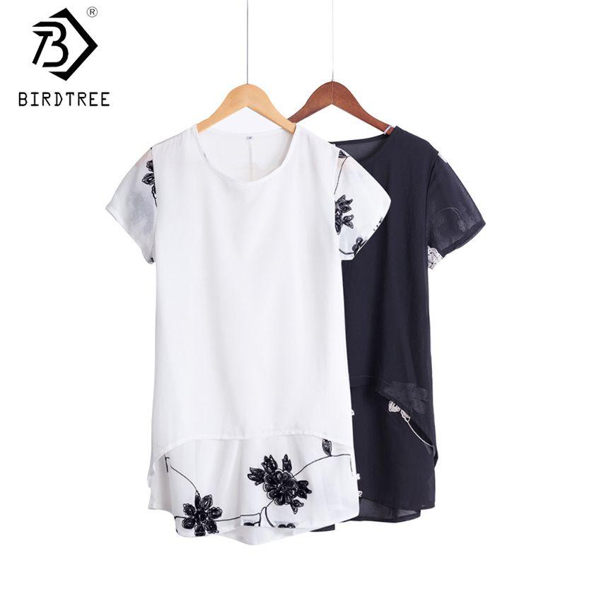 Plus la Taille 5XL Chemisier En Mousseline Femmes Vêtements Amples À Manches Courtes Broderie Fleur Imprimer Patchwork Blanc Tops Grand Chemises D53558