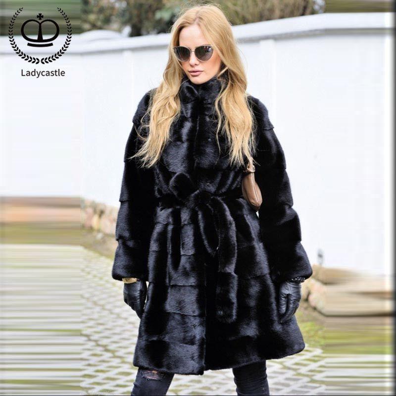 2018 New Arrival Women Real Mink Fur Long Coat Full Pelt Natural Fur Women Real Mink Fur Outwear Winter Coat Jacket Warm MKW-115