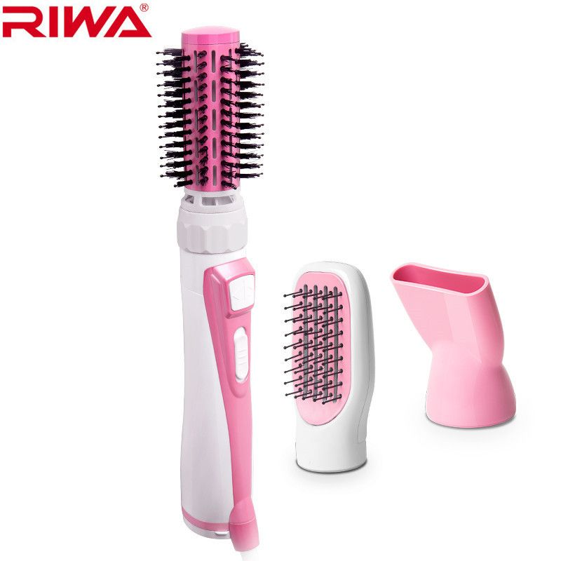 3 in 1 Hair dryer with rotating brush Multifunction air styler Round brush Automatic curling Straight hair comb Riwa 220V