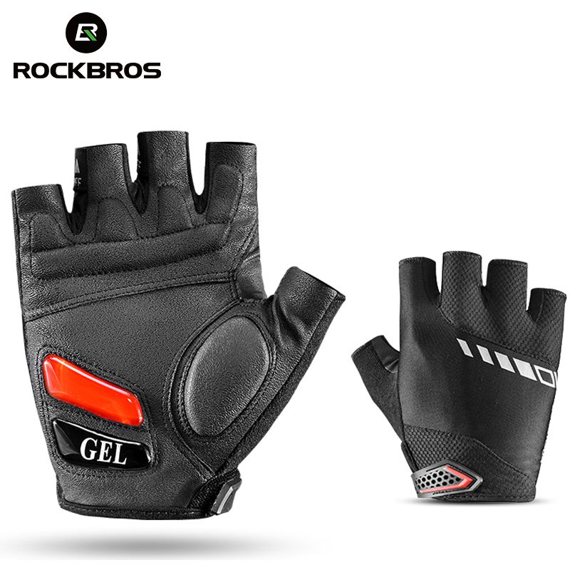 RockBros Cycling Bike Bicycle Short Gloves Silicone Gel Thickened Pad SBR <font><b>Shockproof</b></font> Breathable Half Finger Glove Bike Equipment