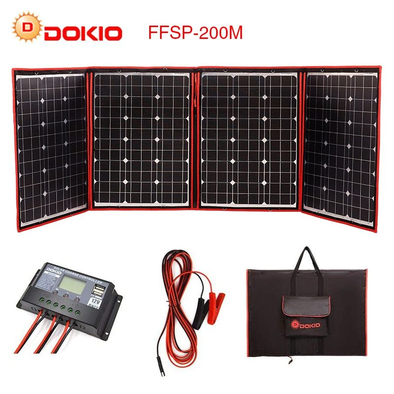 Dokio Flexible Foldable 200W(50Wx4) Mono Solar Panel High Power Portable Solar Panel For RV&Boat&Travel Solar Panel China Brand