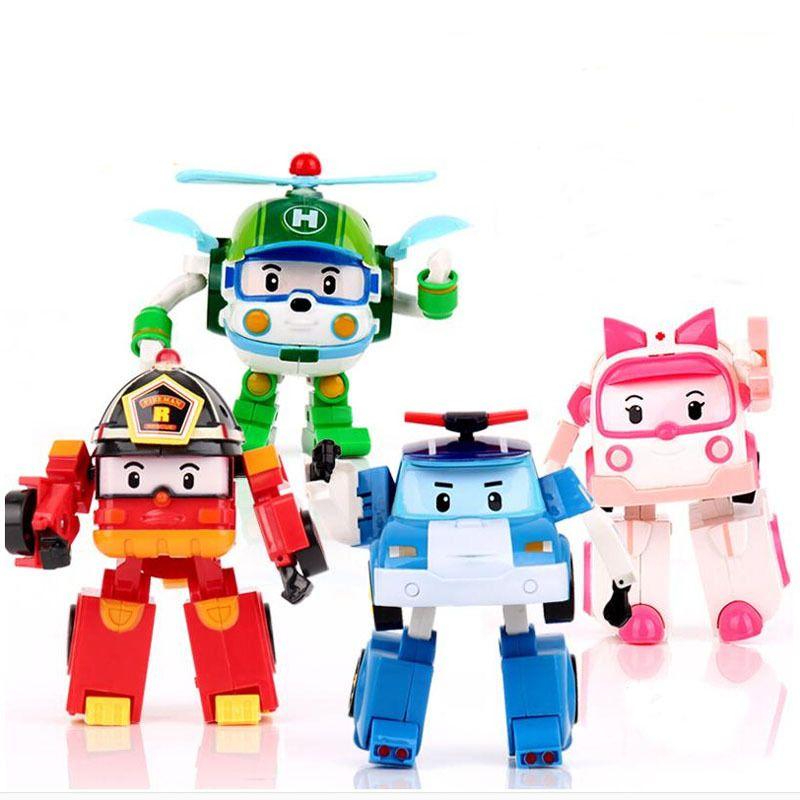 4 pcs/ensemble Corée robot classique en plastique Transformation Jouets Jouets Meilleurs Gifs Pour Les Enfants livraison gratuite # E