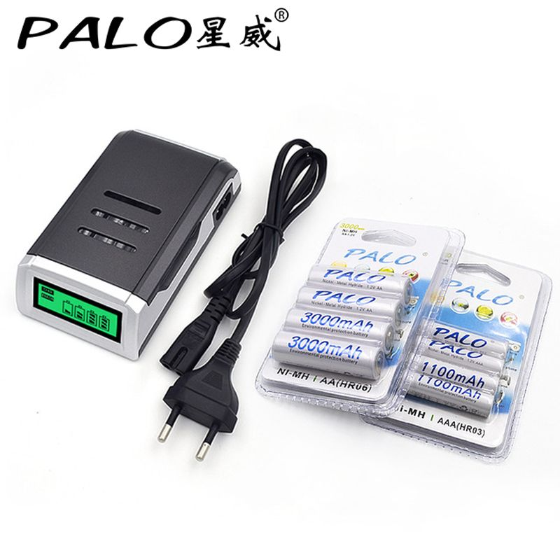 4 Slots LCD Chargeur Intelligent pour AA/AAA Batteries + 4 Pcs AA 3000 mah + 4 Pcs AAA1100mah Nimh Rechargeable Batteries