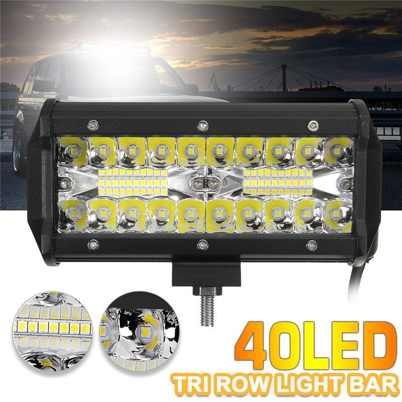 120W 7Inch 40LED Work Light Bar Flood Spot Combo Driving Lamp Waterproof 6000K LED Work Light For SUV ATV Truck Offroad Boat 4WD