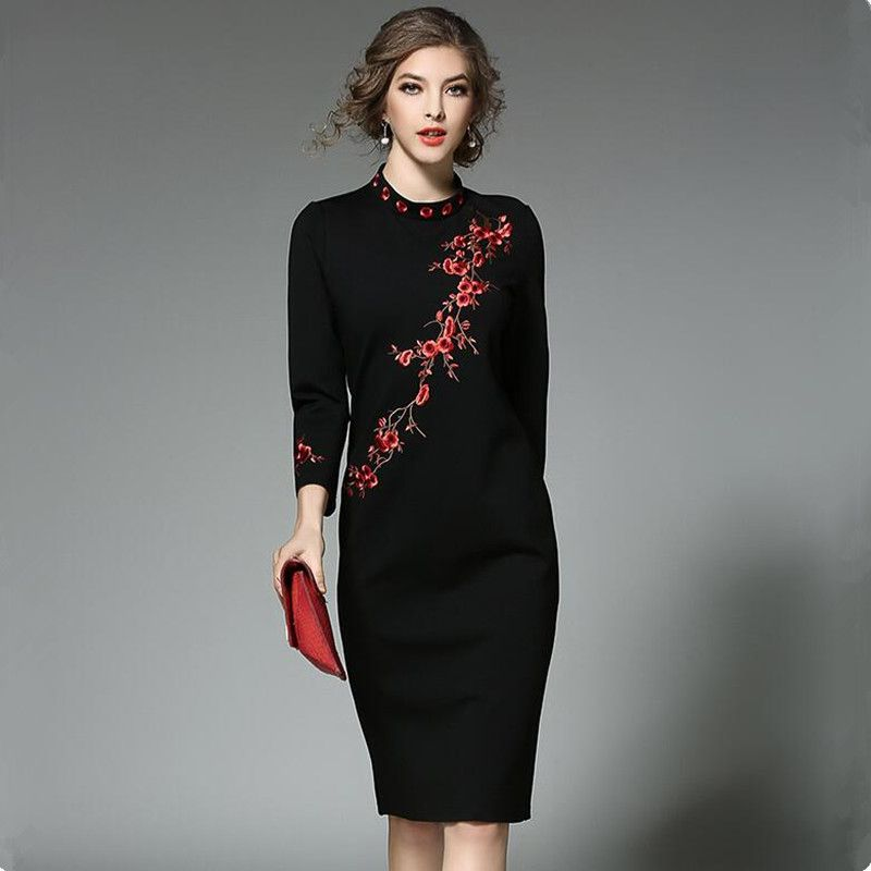 New Plum Embroidered Winter Dresses Women 2017 Vestidos Ukraine Women Package Hip Black Dress Kerst Jurk Dames Robe Femme