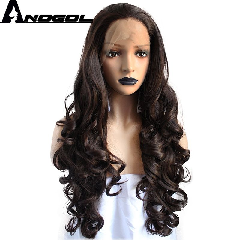 Anogol Widow Peak Dark Brown Free Parting High Temperature Fiber Natural Long Body Wave Synthetic Lace Front Wig For Women