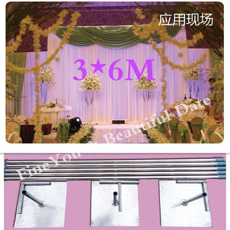 EXPRESS FREE SHIPING 3X6M Stainless Steel Pipe Wedding Expandable Rods Backdrop Stand Frames birthday party decorations