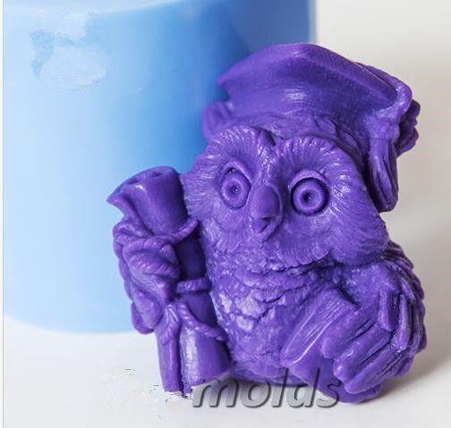 Bougies faisant des moules d'animaux bricolage artisanat moules hibou 3D silicone moule pour savon