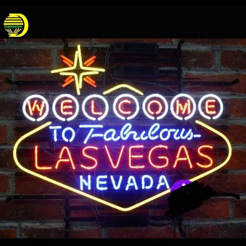 Willkommen zu Fabulous LasVegas Nevada Neon Zeichen Bier Bar Pub Handcrafted Neon Lampen Zeichen Glas Rohr Benutzerdefinierte Lampe Widerstand VD 24X20