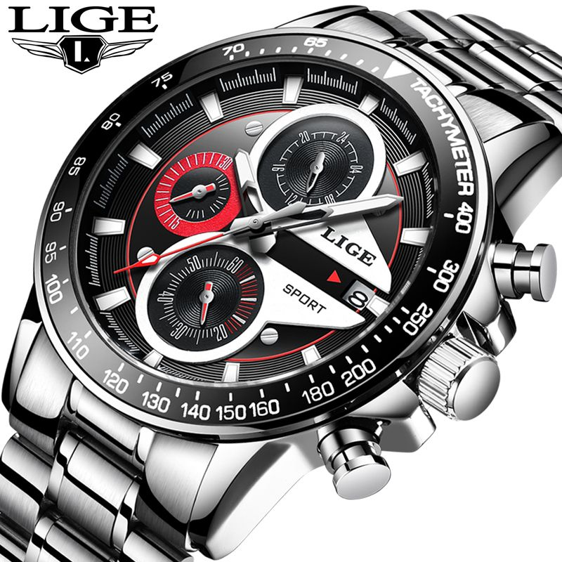2018 New Model Brand LIGE Men'sWatches Top Brand Luxury Fashion Business Quartz Watch Men Sport Full Steel Waterproof Men Watch