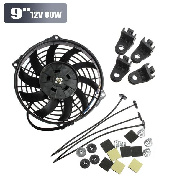 Universal 9inch 12V 80W Slim Reversible Electric Radiator Cooling Fan Push Pull Easy Install