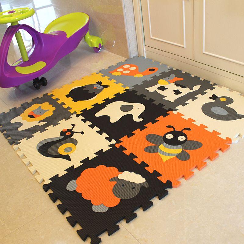 Mei qi kühlen 9Pcs tier Muster Schaum Puzzle Kinder Teppich Teppich Split Joint EVA baby Spielen Matte Innen Weichen aktivität Puzzle Matten fitnessraum